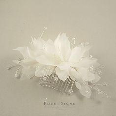 Pure Silk, Wedding Headpiece, Ivory Bridal Flower Headpiece, Flower Wedding Comb, Bridal Comb with Swarovski crystal Wedding Hair Accessory on Etsy, $58.00