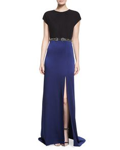 Colorblock Crystal-Detailed Slit Gown by Jenny Packham at Neiman Marcus.