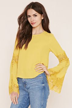 Contemporary Lace-Paneled Top | Forever 21 - 2000151323 Size:medium