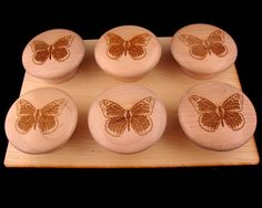 Monarch Butterfly Etched Wooden Cabinet Knobs  Set of by KCsGlass, $15.00