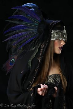 """Awesome picture! Reminds me of the """"ritualists"""" in Guild Wars.    Headdress by etsy.com/shop/RoosterBaby22"""