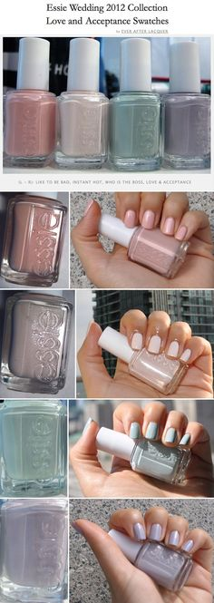 WANT THEM ALL!! :: Essie Wedding Collection 2013 - Love & Acceptance :: Microshimmer: Like To Be Bad, Instant Hot; Pastel: Who Is The Boss, Love & Acceptance :: REVIEW: LTBB: very shiny/no top coat! (:/ can be patchy, 2-4 coats needed). IH: true white w/ hint of blush (:/ dry btwn coats 2 avoid drag).  WITB: muted greyed-out greenish blue; a 2 coater & not streaky! L: lilac pastel, dusty, greyed-out & muted; PERFECT forumla, a 2 coater!  | #everafterlacquer #pastels #pastelpolish…