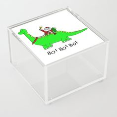 Jurassic Santa Claus Acrylic Box by edream Acrylic Box, Cute Gifts, Container, Santa, Beautiful Gifts