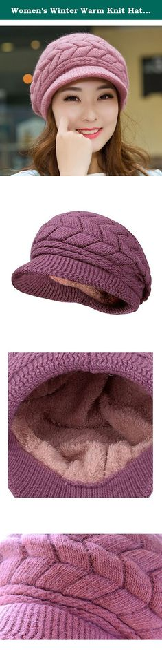 Women's Winter Warm Knit Hat Snow Ski Caps with Visor. This soft chenille fleece-lined winter knit cap hat is perfectly designed for the chilly cold weather winter season. Extra Deep for a jaunty slouchy look or to make a little extra room for your hair, whether loose, in a bun or a pony tail, and may be deep enough to cover your ears, so you can replace your earmuffs, or choose to wear them together for extra warmth. The visor brim protects your face from falling snow and skin-chapping…