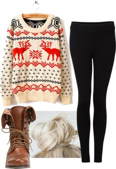 we love these sweaters! And we love the idea of this entire outfit even more! The boots and bun are 2 of the top trending accessories right now. If you have shorter hair and are unable to pull into a bun, a red or cream colored beanie would pair perfectly as well!