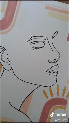 Small Canvas Art, Diy Canvas Art, Abstract Face Art, Outline Art, Art Drawings Sketches Simple, Art Lessons, Watercolor Art, Art Projects, Gouache