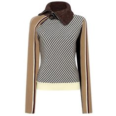 Carven - Zip Neck Striped Sweater ($490) ❤ liked on Polyvore featuring tops, sweaters, carven sweater, white sweater, zip up sweater, white top and white striped sweater