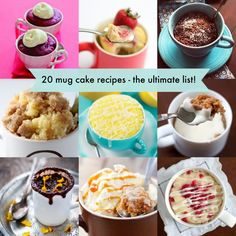 Mug Cake 20 mug cake recipes - this is the ultimate list! Definitely save for mug cake recipes - this is the ultimate list! Definitely save for later! Mug Recipes, Easy Cake Recipes, Sweet Recipes, Dessert Recipes, Cooking Recipes, Cupcakes, Cupcake Cakes, Just Desserts, Delicious Desserts