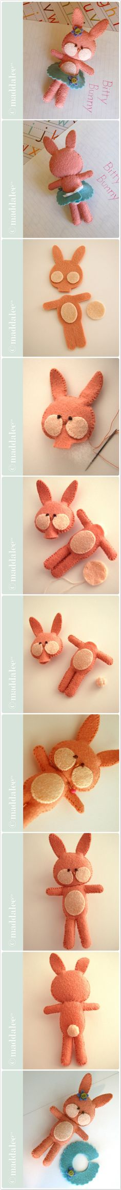 Bitty Bunny, Free Felt Bunny Pattern and Tutorial | From Maddalee