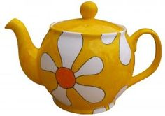 Hi_res_retro_teapot from Laura Lee Designs Pottery Painting, Ceramic Painting, Yellow Balloons, Paint Your Own Pottery, Diy Mugs, Yellow Things, Teapots And Cups, Kettles, Lemon Yellow