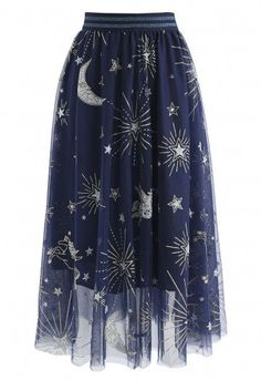 Myth Of Stars Mesh Tulle Midi Skirt in Navy - Retro, Indie and Unique Fashion Blue Tulle Skirt, Mesh Skirt, Mesh Dress, Navy Skirt, Basic Fashion, Unique Fashion, Fashion Fashion, Chicwish Skirt, Calf Length Skirts