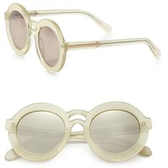 Karen Walker Joyous Plastic Round Sunglasses/Gold Mirror (3.410.160 IDR) ❤ liked on Polyvore featuring accessories, eyewear, sunglasses, glasses, jewelry, apparel & accessories, gold mirror, round mirror sunglasses, gold sunglasses and uv protection sunglasses