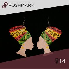 Jewelry Red,yellow and green wooden earrings Jewelry Earrings