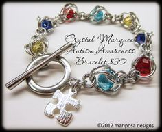 Autism Awareness Crystal Marquee Chainmaille by MariposaBeadCo, $30.00