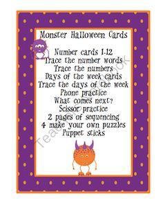 Preschool Printables: Monster Halloween Cards