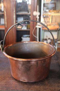French antique copper cauldron, Large copper cauldron, Large Jam Bowl Saucepan, French farmhouse copper cauldron, Copperware Copper jam bowl