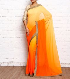 Orange & Yellow Ombre Dyed Georgette Saree