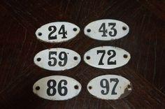 Vintage French Enamel Number Signs Plaque by VintageFleaFinds