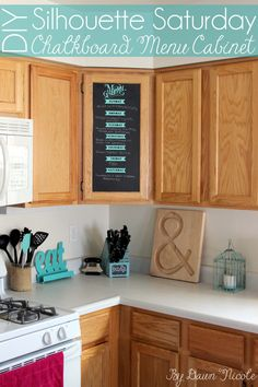 Silhouette Saturday! DIY Chalkboard Menu Cabinet. This renter-friendly project is super easy and helps you keep organized with a cute, weekly meal plan! bydawnnicole.com