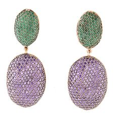 Coco oval earrings amethyst and emerald cz in bronze with rose gold plating