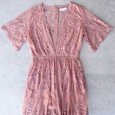"""Embroidered mesh maxi dress. V-neckline. Side slits. Back zipper closure. Front + Shorts lining. - Material: Polyester - Color: """"ginger"""" but has a pink/mauve tone - Sizes: small - 2-4 ; medium - 6/8 ;"""