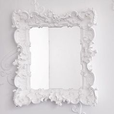 I LOVE ornate frames, but never knew what color would look amazing and not too gothic against our grey walls. WHITE!