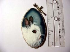 jersey wooley rabbit pin/pendant on agate