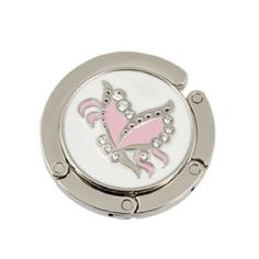 Amico Pink Butterfly Accent Round Folding Handbag Hook Purse Table Hanger by… Bag Hanger, Home Hardware, Pink Butterfly, Made Of Wood, You Bag, Desks, Pink Color, Tables, Gemstone Rings