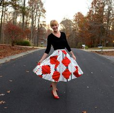 Kim Niedzwiecki from My Go-Go Life made a Log Cabin Quilt using Zen Chic jelly rolls for Moda Fabrics United Notions scraps of red from her sewing room and Aurifil thread. She then transformed it into a circle skirt for International Quilt Market!  To see more please visit http://gogokim.blogspot.com/2015/11/you-did-what-to-quilt.html
