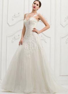 Abito da Sposa con Applique Elegante A-Line Naturale Coda A Strascico Corto 111d3cb09e1