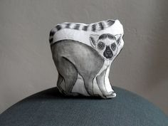 Lemur Plush Mini Pillow Decor  Handpaint Soft by ShebboDesign, $29.00