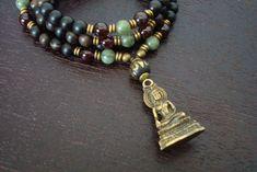 Men's Love & Prosperity Mala by 5thElementYoga - $39.00 #mens #buddha #garnet #mala #mensjewelry #5thelementyoga