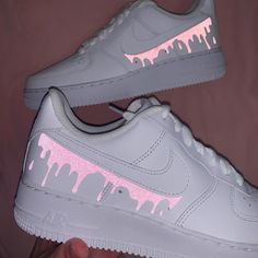Reflective PINK drip Nike Air Force 1 💕💦 by tony Pink Nike Shoes, Cute Nike Shoes, Cute Sneakers, Nike Air Shoes, Nike Custom Shoes, Colorful Nike Shoes, Nike Socks, Pink Nikes, Sneakers Nike