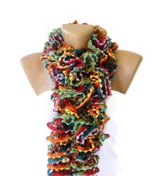 TREND SCARF- RUFFLE SCARF -ACRYLIC YARN    Soft scarf  long scarf  multicolor scarf ( green red yellow blue orange scarf )  This fabulous accessory...