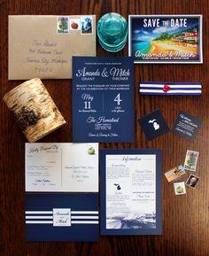 Wedding Invitation Suite by Amanda Thrower diy navy blue nautical michigan