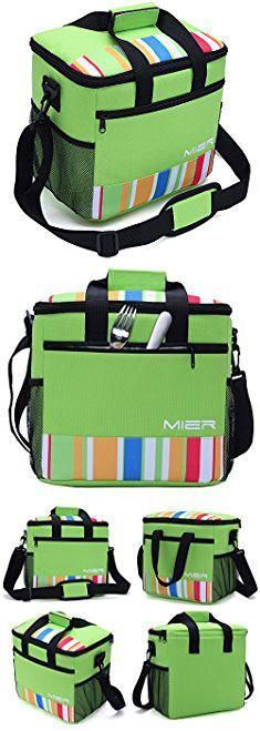 Insulated Beach Bag Cooler. MIER 24-can Large Capacity Soft Cooler Tote Insulated Lunch Bag Green Stripe Outdoor Picnic Bag.  #insulated #beach #bag #cooler #insulatedbeach #beachbag #bagcooler
