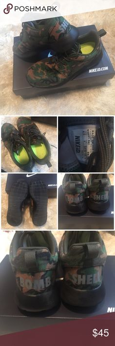 """•Custom• NIKEid Camo Roshe Gently used! Women's size 6.5. Excellent condition - no stains/tears.   Says """"bomb shell"""" across the back of the shoes in reflective coloring (see pics).   Comes with box.   No trades/holds Nike Shoes Athletic Shoes"""