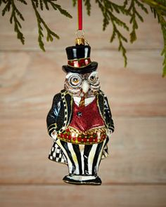 H7Y53 MacKenzie-Childs Mr. Fowler Christmas Ornament