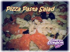 PIZZA PASTA SALAD!  A quick throw together salad that is bold in flavor & perfect any summer BBQ!!