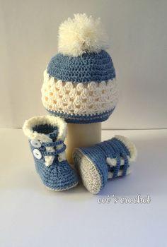 Evi's crochet: Μποτακια σκουφακια! Booties caps !