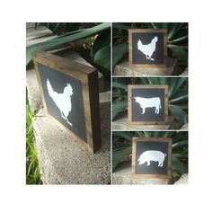 Farm House/ Stained Wood Farm Animal Signs dark stained with by AmesAndEmes