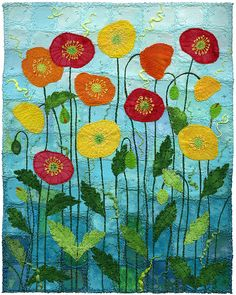 Icelandic Poppies 2 by Kirsten's Fabric Art, via Flickr
