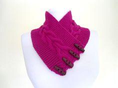 Cerise pink neckwarmers autumn wool by likeknitting on Etsy, $26.99