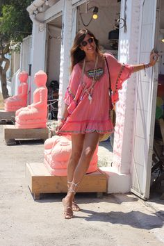 Pretty in Boho pink....with tons of jewelry & a great gladiator sandal to keep cool, even in October