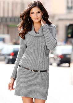 HEATHER GREY Belted sweater dress from VENUS