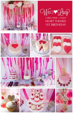 Red, Pink + Gold Heart Themed First Birthday Party // Girl Birthday // Dessert Party