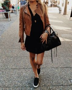 Brown leather jacket lbd