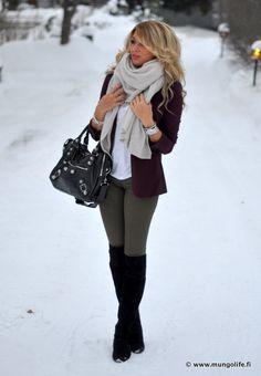 Burgundy blazer, white top, military green skinny jeans, black boots & handbag, grey scarf, silver jewelry