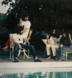 Eric Clapton, Klaus Voormann, John Lennon, and Yoko Ono