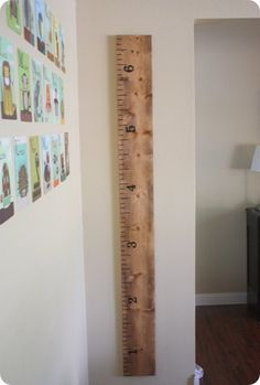 awesome way to keep track of children's height without messing up the walls & you can take it with you if you move!